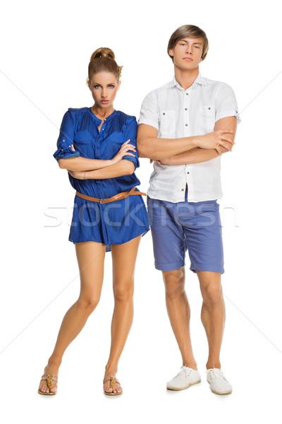 Güzel çift ayakta şık ciddi genç Stok fotoğraf © svetography