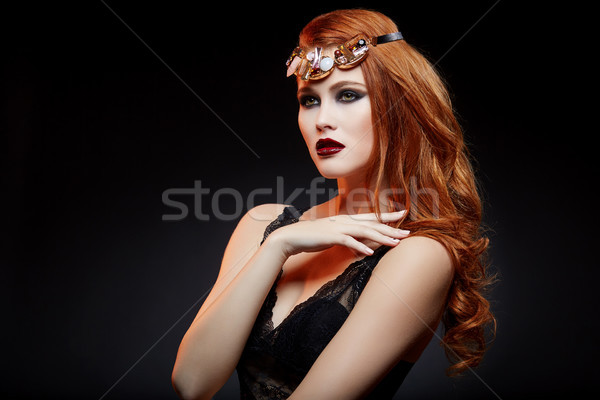 beautiful girl with bright makeup and red hair Stock photo © svetography