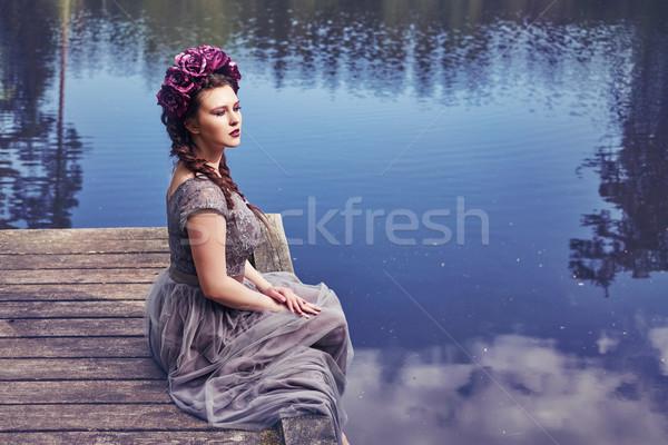 девушки платье саду красивой довольно Сток-фото © svetography