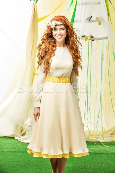美少女 黄色 ドレス 美しい 若い女性 長い ストックフォト © svetography