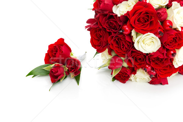 bridal bouquet with red and white roses Stock photo © svetography