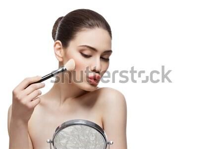 Lány jelentkezik bőrpír gyönyörű fiatal nő ecset Stock fotó © svetography