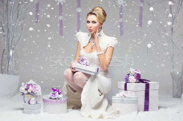 Girl with preset boxes Stock photo © svetography