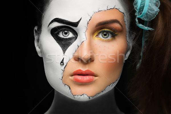 Menina máscara retrato belo mulher jovem cara Foto stock © svetography