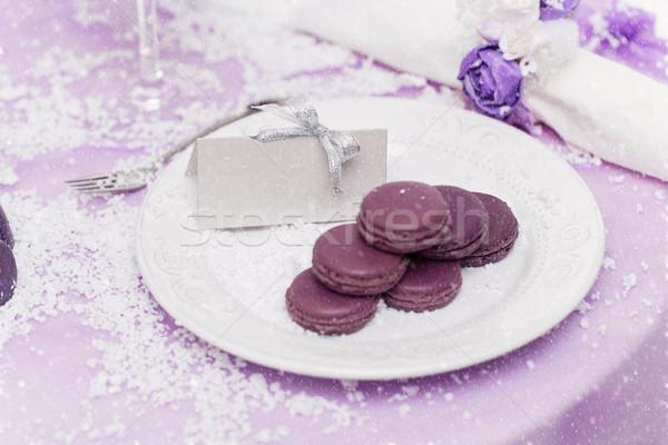 Purple macarons on plate Stock photo © svetography