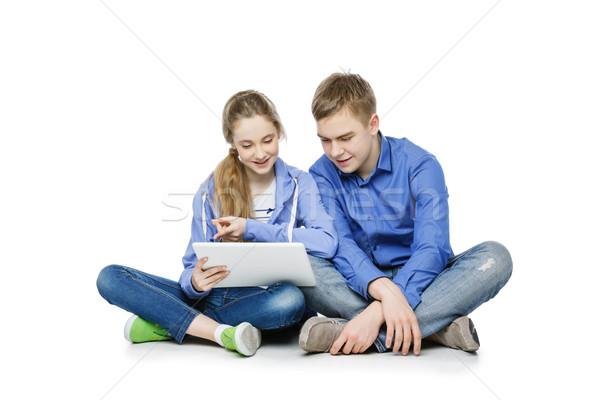 Genç yaş erkek kız tablet güzel Stok fotoğraf © svetography