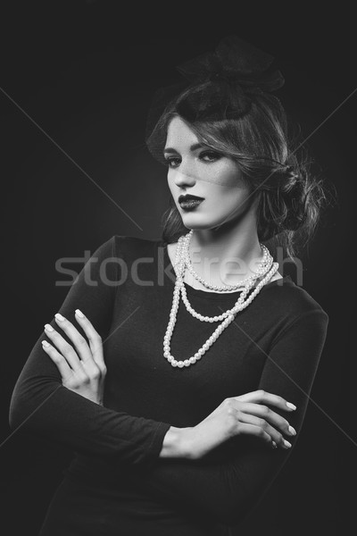 beautiful girl with pearl necklace and veil hat Stock photo © svetography
