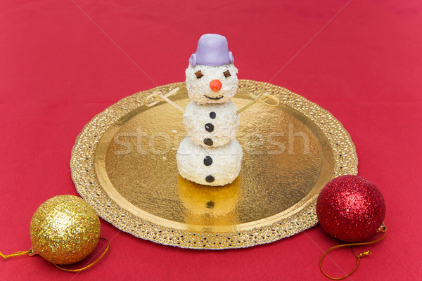 Christmas dessert in shape of snowman Stock photo © svetography