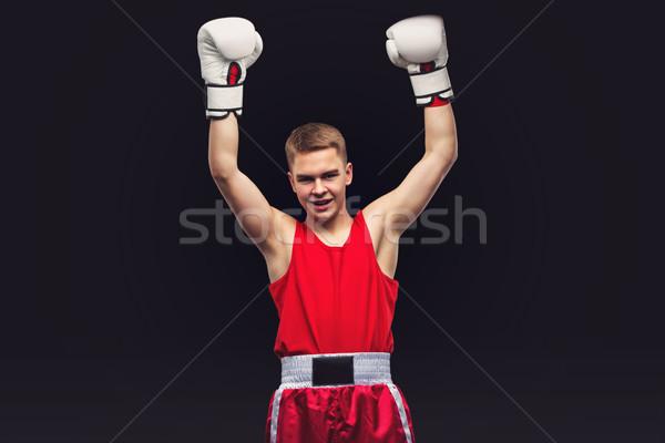 Giovani boxer rosso sport suit Foto d'archivio © svetography