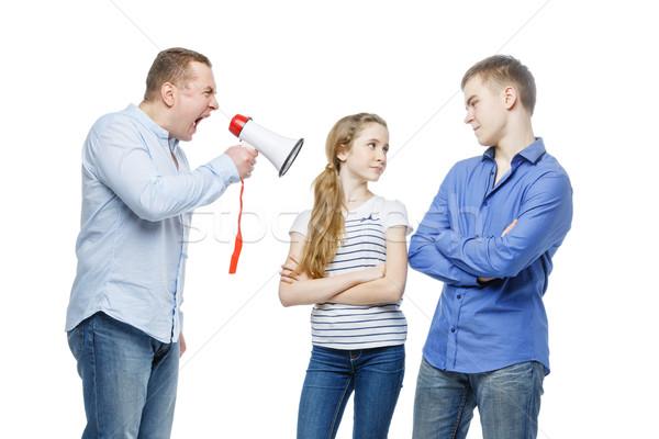 Baba çığlık atan çocuklar megafon genç Stok fotoğraf © svetography