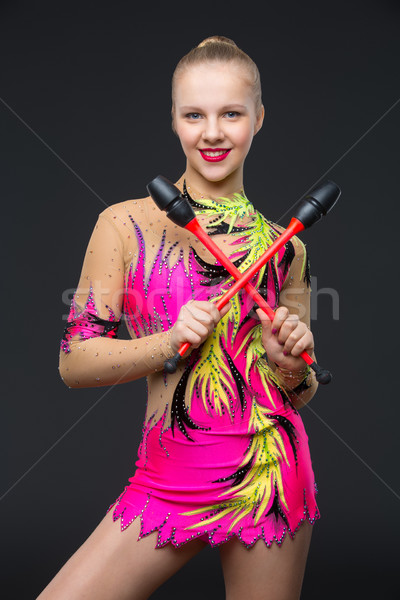 Belle adolescent gymnaste fille blond Teen Photo stock © svetography