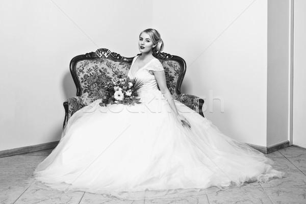 Piękna dziewczyna suknia ślubna piękna blond młoda kobieta biały Zdjęcia stock © svetography