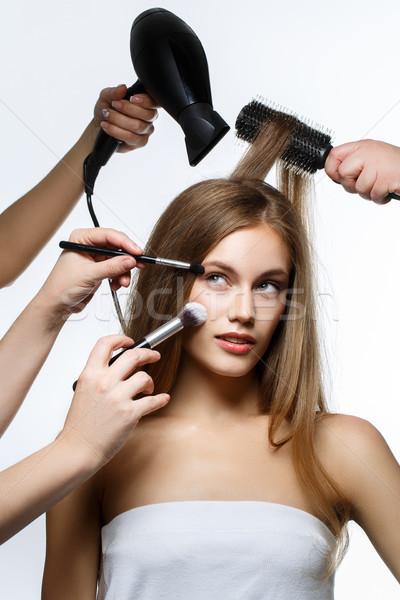 Beautiful girl cabelo make-up belo mulher jovem estúdio Foto stock © svetography