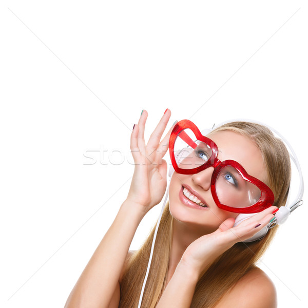 девушки наушники сердце очки красивой Сток-фото © svetography