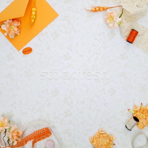 Szett anyagok gyönyörű narancs klasszikus virág Stock fotó © svetography