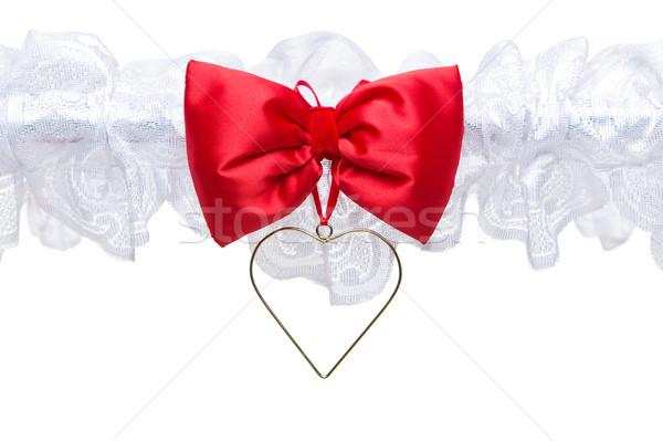 Arc détail dentelle ruban belle rouge Photo stock © svetography