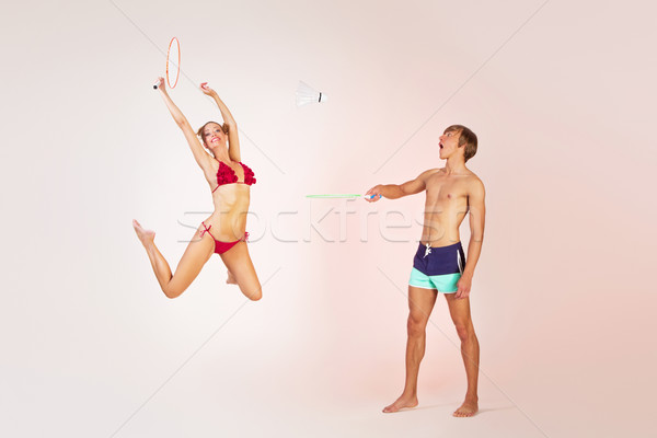 Casal jogar badminton cópia espaço Foto stock © svetography