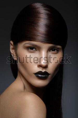 Belle fille noir lèvres belle jeune femme brillant Photo stock © svetography