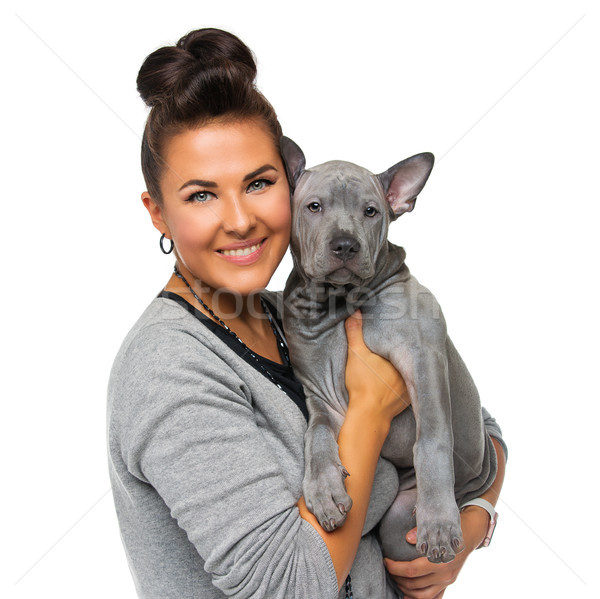 girl with thai ridgeback puppy Stock photo © svetography