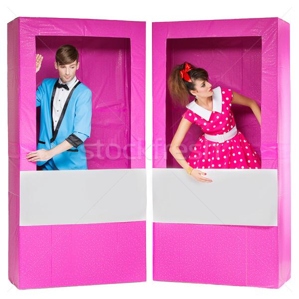 Menino menina olhando como bonecas caixas Foto stock © svetography