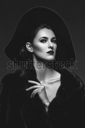 Retro style beautiful lady in dress Stock photo © svetography