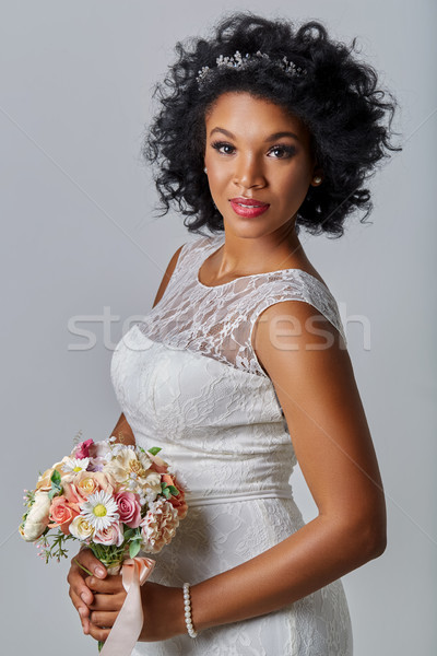 beautiful bride with bouquet Stock photo © svetography