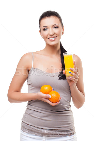 Beautiful girl with oranges and orange juice Stock photo © svetography