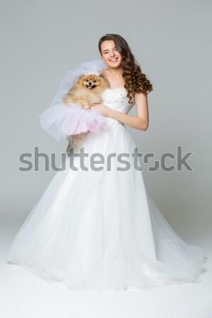 Stockfoto: Mooie · jonge · bruid · meisje · gelukkig · lang