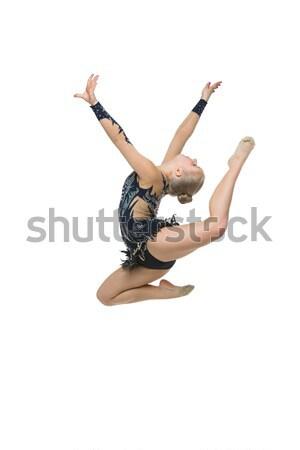 Gyönyörű tornász lány jelmez készít ugrik Stock fotó © svetography