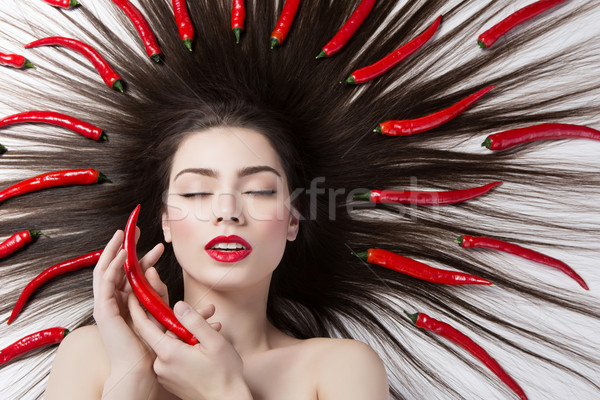 Foto stock: Menina · pimenta · pimentas · retrato · belo