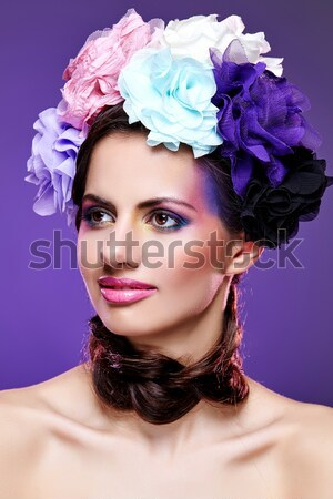 Foto stock: Beautiful · girl · brilhante · make-up · rosa · seis · belo