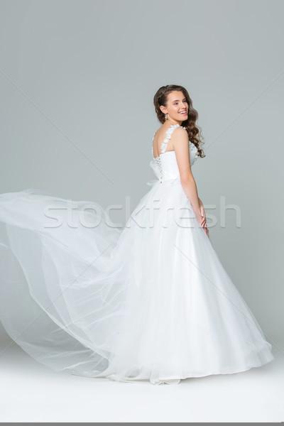Gyönyörű fiatal menyasszony lány boldog hosszú Stock fotó © svetography