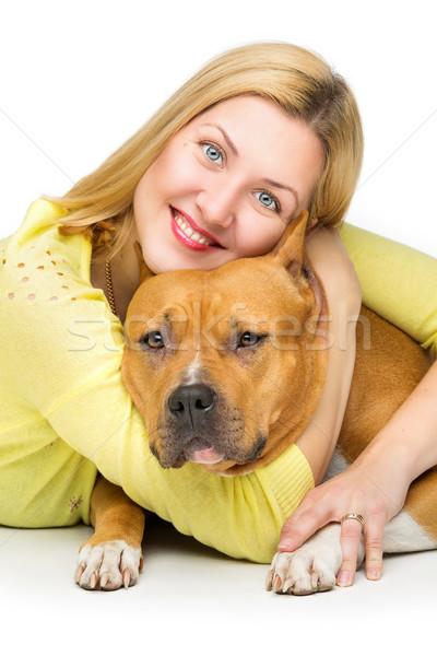 Stok fotoğraf: Kadın · köpek · terriyer · sahip · beyaz