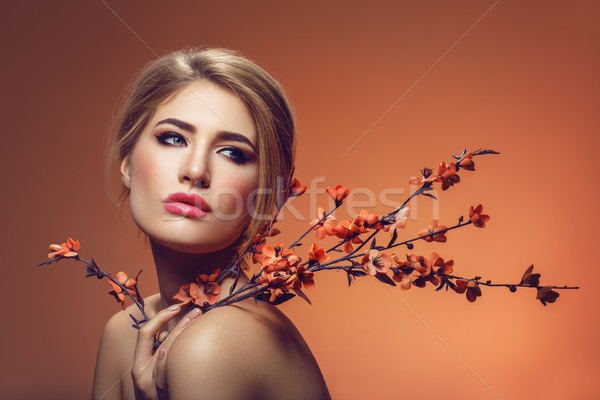 Bella ragazza sakura ramo bella trucco Foto d'archivio © svetography