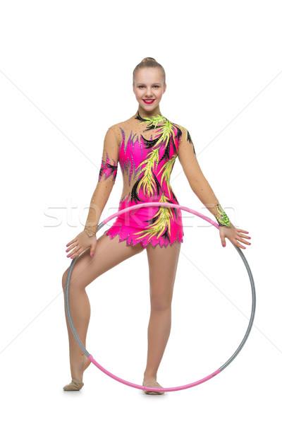 Gyönyörű tini tornász lány szőke tini Stock fotó © svetography