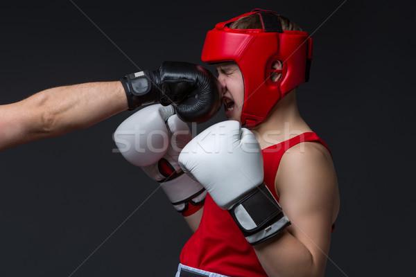 Fiatal boxoló lyukasztott tini piros űrlap Stock fotó © svetography