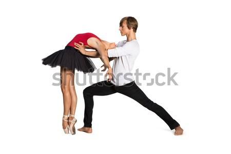 Stockfoto: Ballet · dansers · mooie · dansen · witte