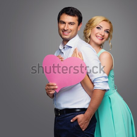 Belo casal rosa corações Foto stock © svetography