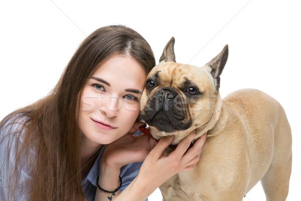 Mooi meisje frans bulldog een maand oude Stockfoto © svetography
