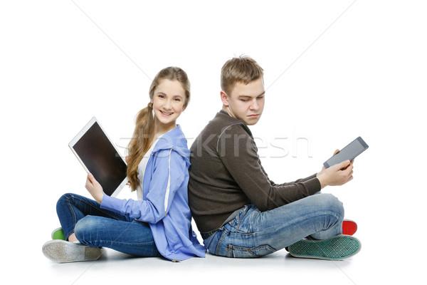 Teen jongen meisje vergadering mooie leeftijd Stockfoto © svetography