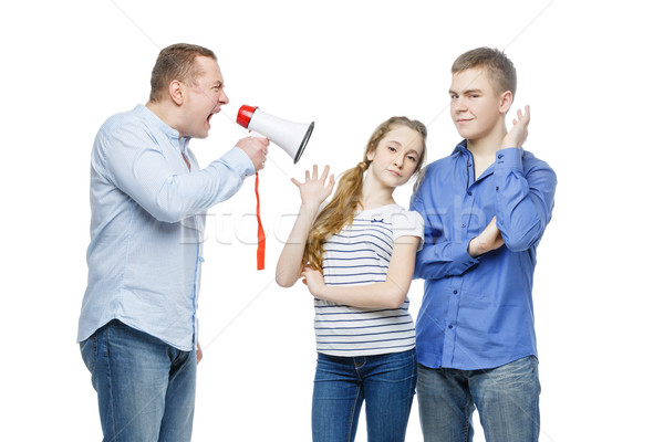 Padre gritando ninos megáfono adolescente Foto stock © svetography