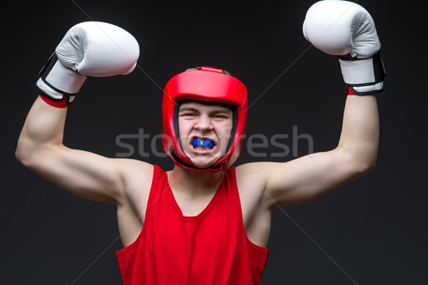 Photo stock: Jeunes · boxeur · gagnant · adolescent · rouge · forme
