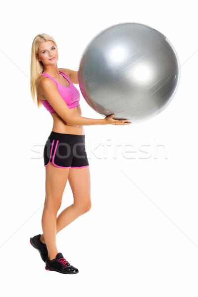 Kız top güzel genç kadın spor Stok fotoğraf © svetography