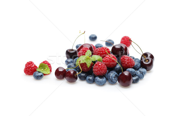 blueberry, cherry and raspberry berries isolated on white background Stock photo © svetography
