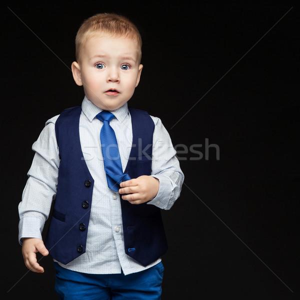 Sorprendido pequeño nino cute azul negocios Foto stock © svetography