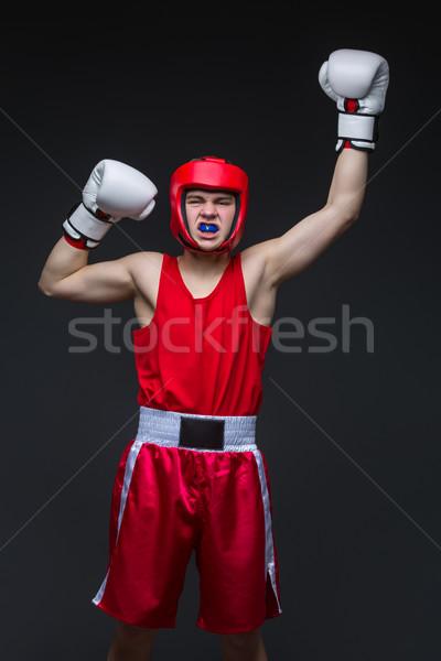 Giovani boxer vincitore adolescente rosso forma Foto d'archivio © svetography