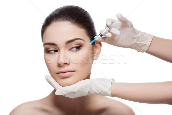 Kobieta kolagen wstrzykiwań piękna młoda kobieta piękna Zdjęcia stock © svetography