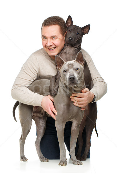 Uomo due cani bello donna thai Foto d'archivio © svetography