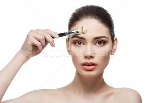 Hermosa niña base cepillo hermosa Foto stock © svetography
