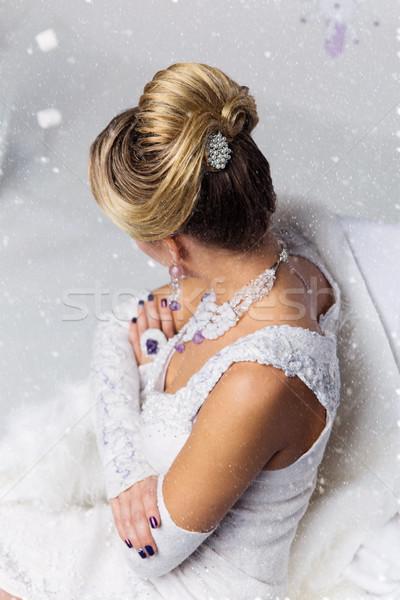 Close-up of bridal babette hairdo Stock photo © svetography